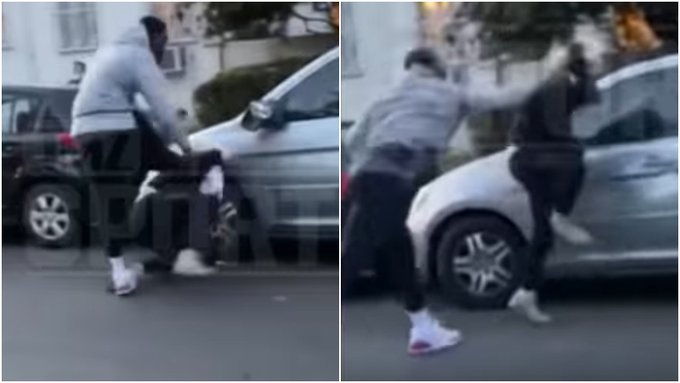 【影片】車子無辜被砸,JR怒揍肇事白人,一頓拳打腳踢+猛踹頭部!