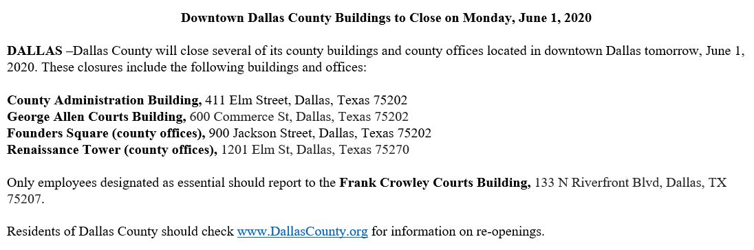 #NEW: Because of the ongoing police operation in the central business district, Dallas County now preemptively closing four downtown Dallas buildings on Monday -- including the county administration building and the civil courthouse. pic.twitter.com/xMLGP2MLVI