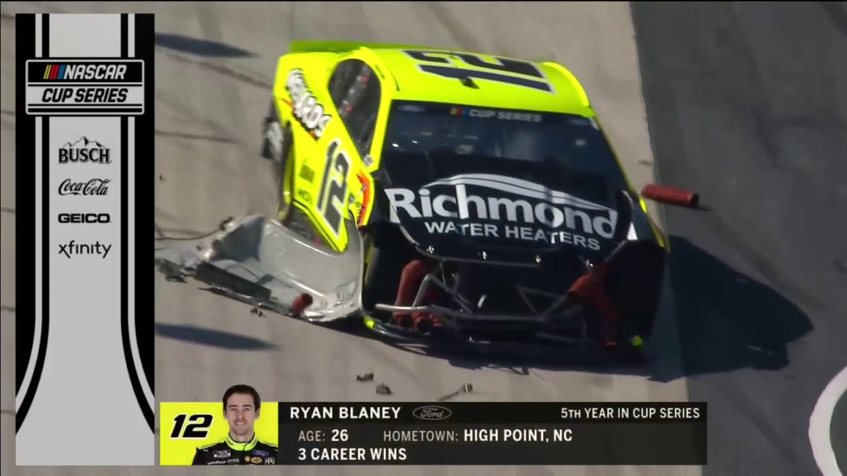 Ryan Blaney's race ends early after this crash.