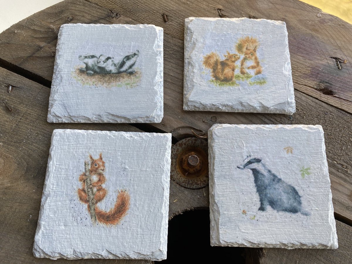 Excited to share this item from my #etsy shop: Woodland animal decoupaged slate coasters. Set of 4. Ideal present, gift or for home Decor. Squirrel and badger designs  #woodlandanimals #rustic #slatecoasters