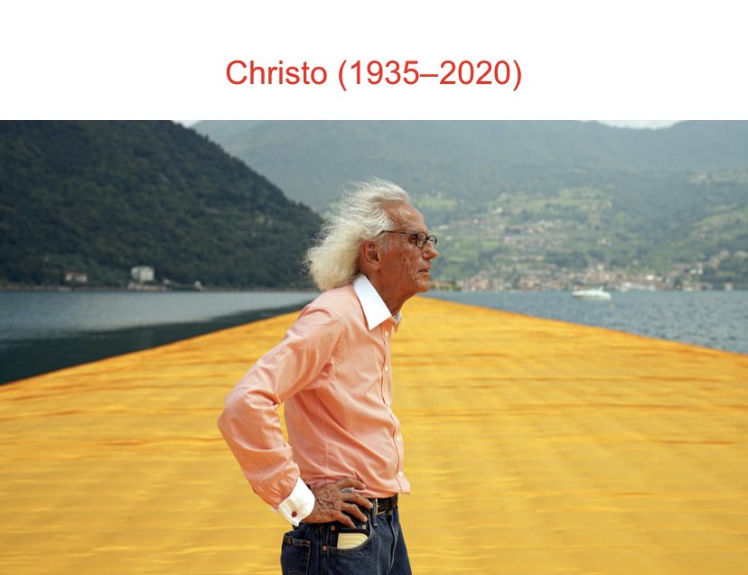 It's a sad day in the art world with passing of artist Christo- you will be missed. #art #artist #artnewspic.twitter.com/MK5CNrpCfy