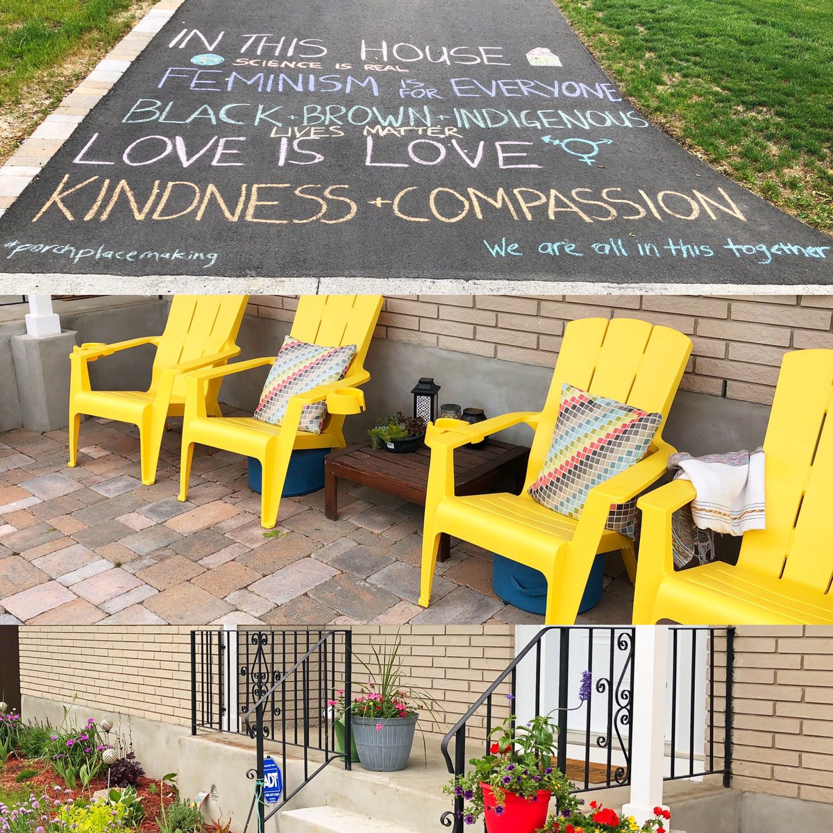 My attempt at beautifying the front of my home for #porchplacemaking week.   If you can read those words and not start arguing with me, you are welcome on my porch. Six feet apart, of course. https://t.co/oI8tx80axA