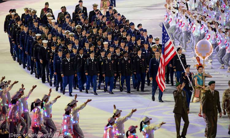 The U.S. Armed Forces Sports team marches during opening ceremonies for the 2019 CISM Military World Games in Wuhan, China Oct. 18, 2019. pic.twitter.com/a29qSnPZze