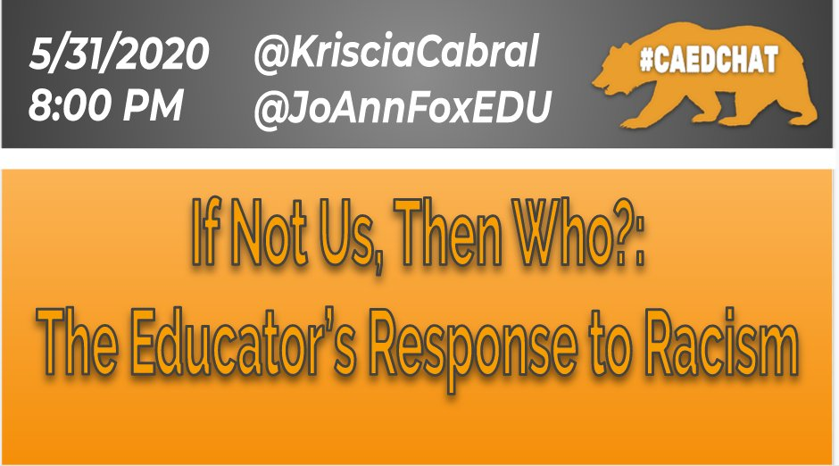 Join me and @JoAnnFoxEDU for an open conversation around an educator's response to #racism
