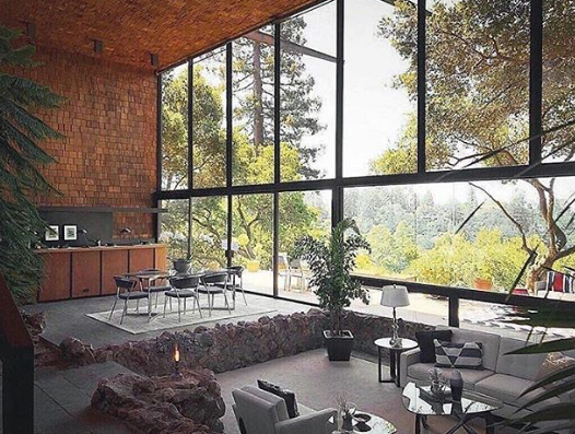 Don't know which I love more- the window- wall, or the stone framed convo pit . . . . . . Via revisionfurniture #midcenturymodern  #midcenturydesign #midcenturymodernhome #midcenturymod #midcentury #midcenturystyle #midcenturyhome #midcenturymoderndesign #midcenturylivingpic.twitter.com/IoTOKvsDHl
