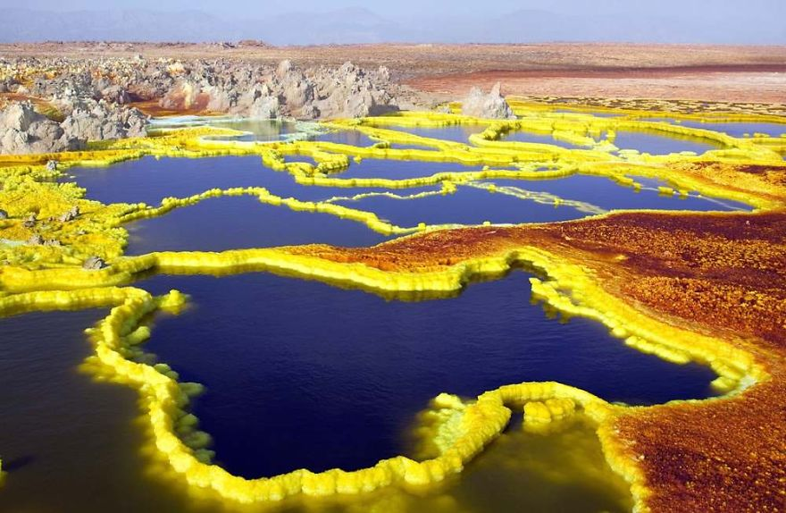 These sulphur springs , found in Ethiopia's Danakil Desert,  are the lowest known subaerial volcanic vents in the world, at 45 m (150 ft) or more below sea level.   #nature #science #m3t4 #conscious
