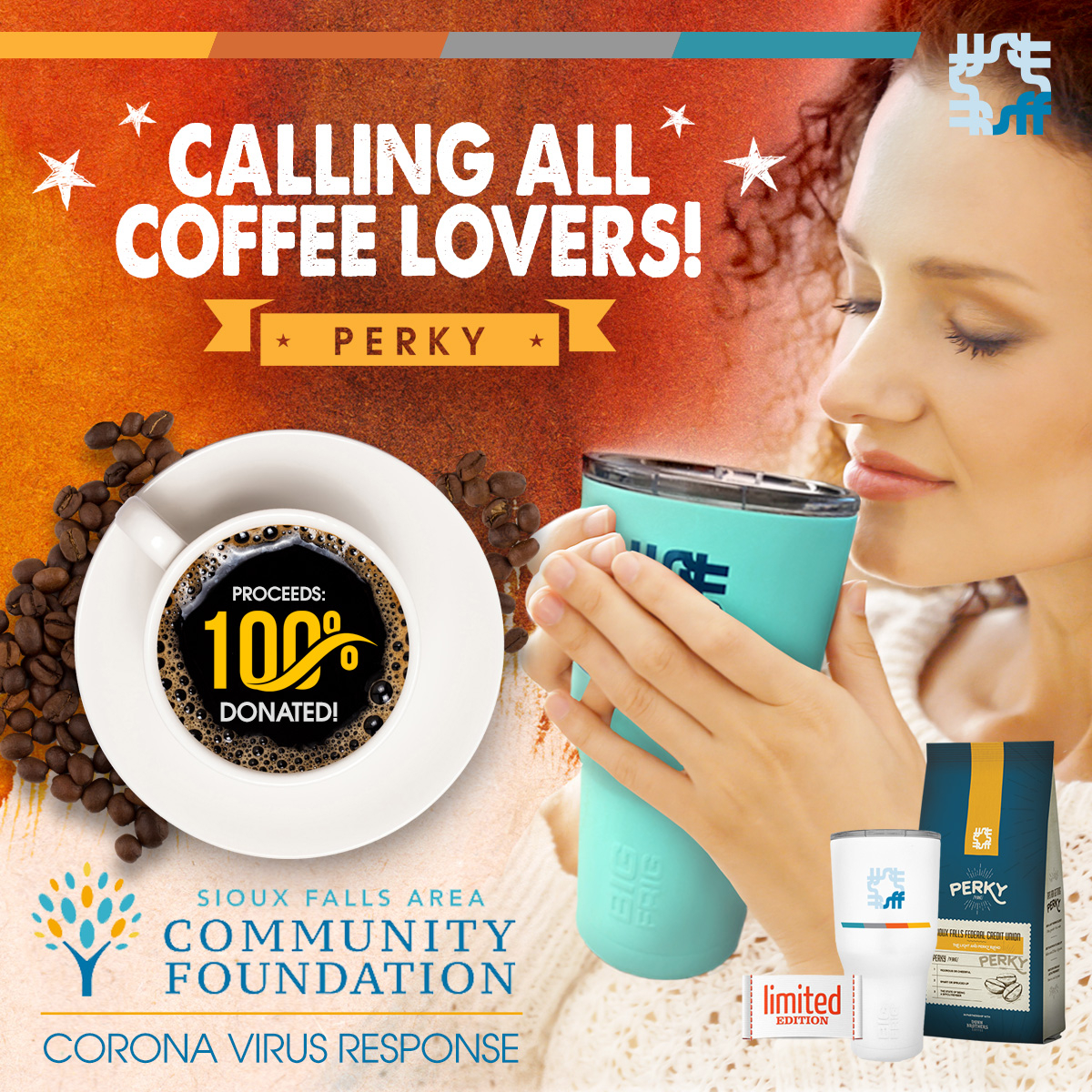 Help your neighbors by picking up a bag of coffee or mug at Sioux Falls FCU! White mugs now in as a limited edition!  >>> 100% of all proceeds will go to local Covid-19 Relief with One Sioux Falls Fund.   Learn more: https://siouxfallsfcu.org/contact/about/giving-back/perky…  #InThisTogether #PerksNationpic.twitter.com/qCtReb70xl