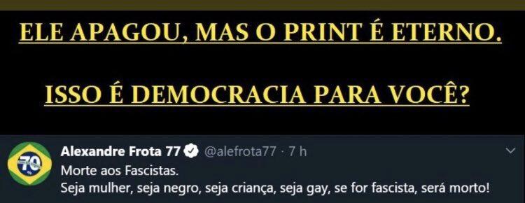 ATENÇÃO: Hoje o Brasil inteiro viu e comprovou,que a esquerda não quer democracia,ela quer voltar ao poder,em resumo,NÃO EXISTE DIÁLOGO COM A ESQUERDA,COM O CONGRESSO,COM A IMPRENSA,COM GOVERNADORES,a pergunta é: Capitão,O QUE ESTAMOS ESPERANDO PARA FECHAR OS OUTROS DOIS PODERES? https://t.co/bvWRHKVnHG