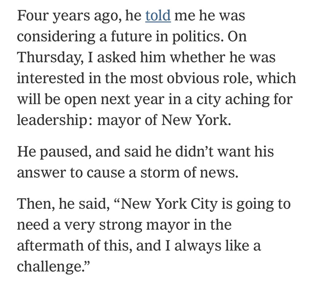 CNN's Jeff Zucker is thinking about running for Mayor of New York next year nytimes.com/2020/05/31/bus…