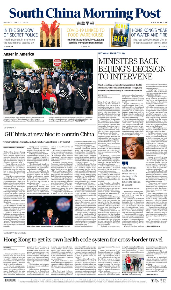 Here's Monday's front page and the top headlines: