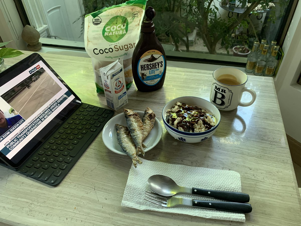"""I will not join today's """"survivor Philippines"""" #WuhanVirus edition; I'm staying home & enjoy my rolled oats champorado & tuyo brekky pic.twitter.com/Zc49ONwzXJ"""