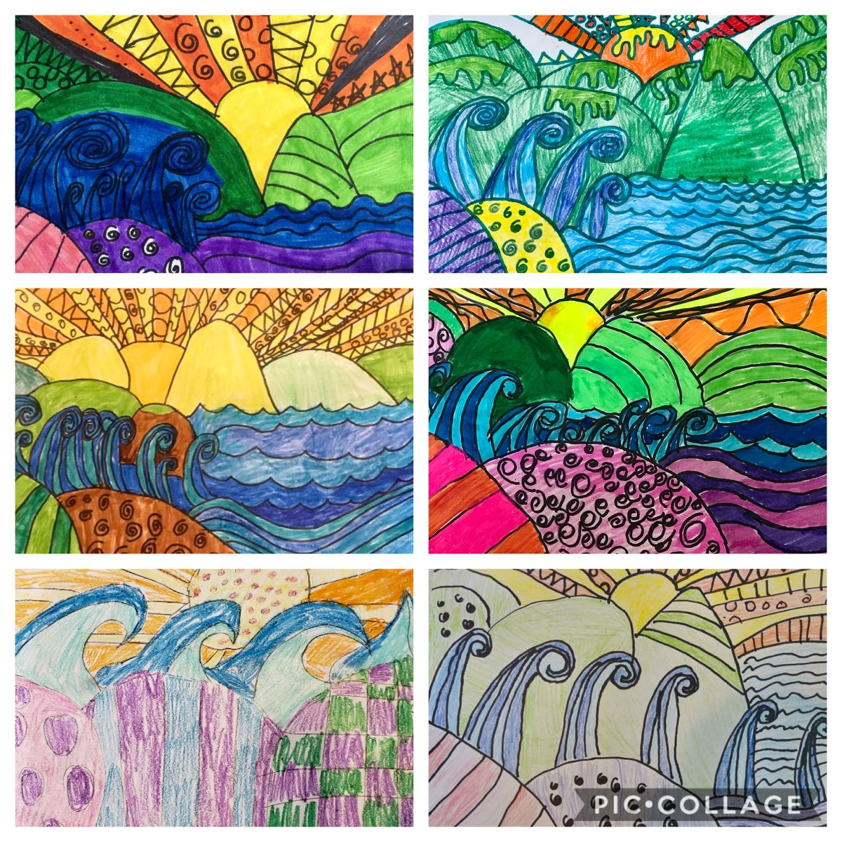 Our 4th graders created beautiful landscapes! ⁦@NYCSchools⁩ ⁦@DOEChancellor⁩ ⁦@District27NYC⁩