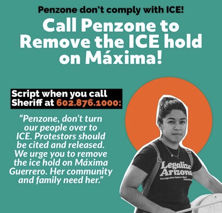 . @Penzone4sheriff let máxima go! Do NOT comply with the ICE hold #freemaxima https://t.co/n5HrrKDb8I https://t.co/oeGIraxlkJ