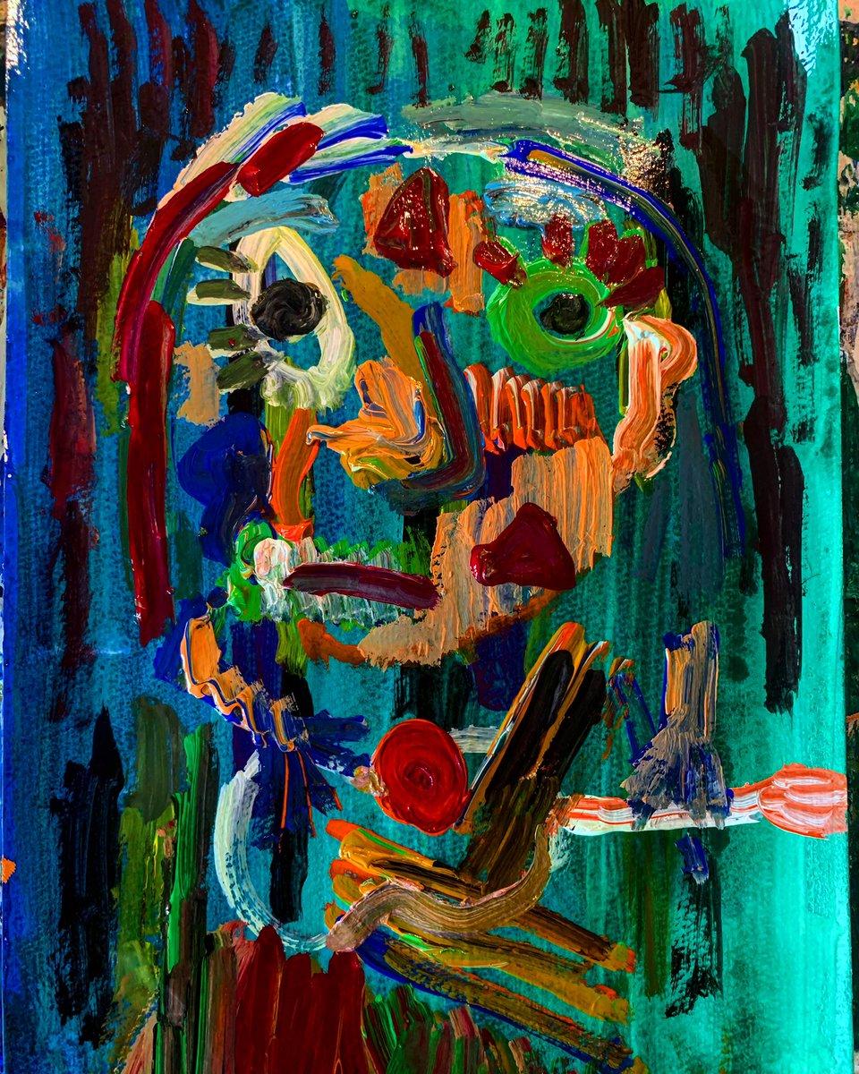 ギターを弾く男(自画像)  #art #artwork #abstractart  #絵 #絵描きさんと繋がりたい #アクリル絵の具 #plants #painting #アート #イラスト https://t.co/nzsGRjSsNH