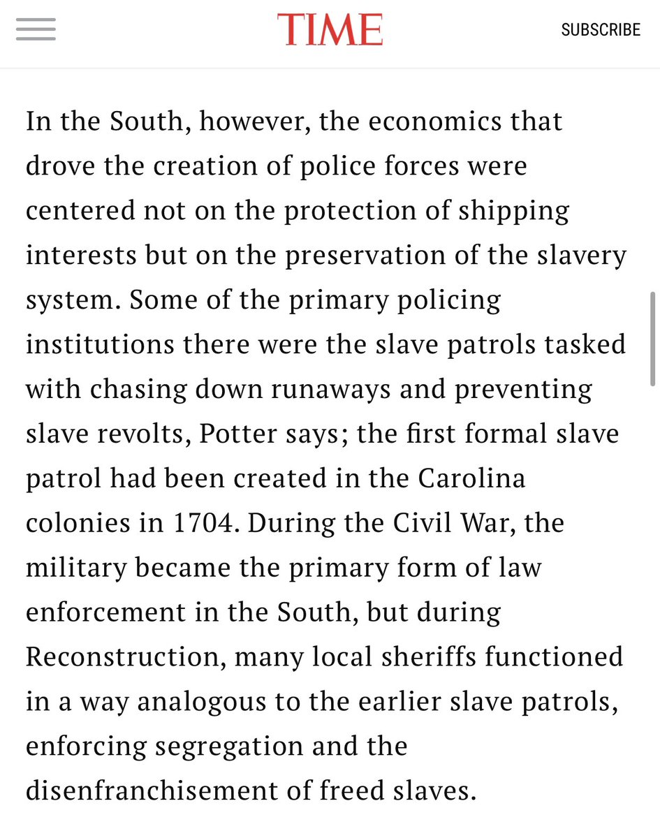 While modern American policing has shifted, its rooted are still entangled with its origins in slave patrols.   Black people were not to be served and protected as humans. They were to be controlled and restricted as property.   https://t.co/L17g0AoxDo https://t.co/a3X84XOxe5