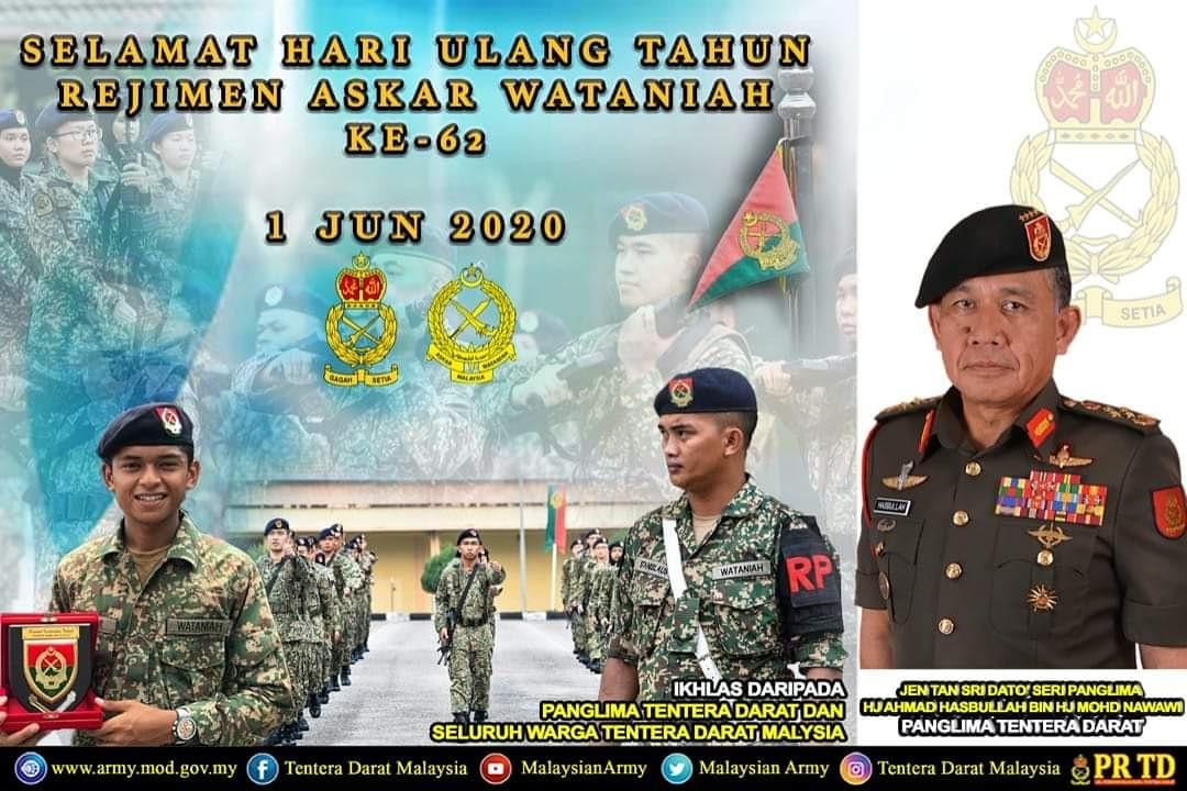 Panglima Tentera Darat mengucapkan Selamat Hari Ulang Tahun Rejimen Askar Wataniah Ke-62 kepada semua warga Kor AW.  #TenteraDaratMalaysia #BerkhidmatUntukNegara #StayHealthyProtectYourself #BersamaPerangiCovid19 https://t.co/BJz4tzYI09