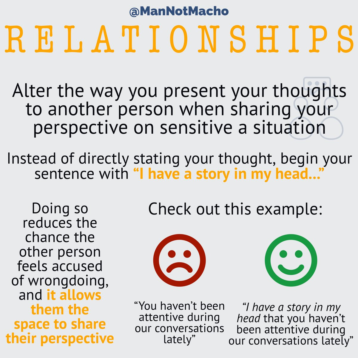 Try this out to see how your next sensitive conversation goes. What other tactics do you use to maintain an open dialogue?  #mannotmacho #mnmtips #values #corevalues #valuesmatter #modernman #gentleman #man #manhood #masculine #2020goals #communication #relationshipspic.twitter.com/YRmPwkQ8db