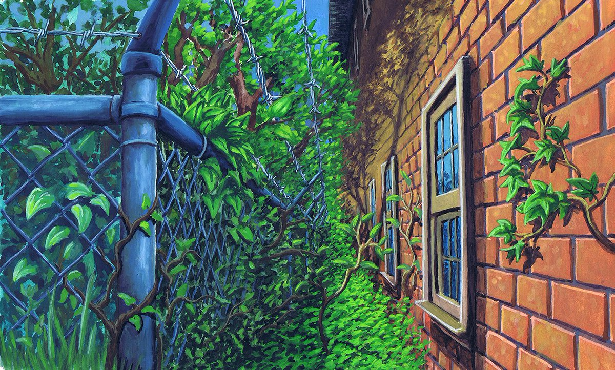 Gouache on Watercolor paper. From a while ago. Learned a lot from this one, mainly about how gouache behaves when it's piled on thick.   #painting #illustration #art #fence #Gouache #wall #bricks #plants #leaves https://t.co/VRFBzqZmAB
