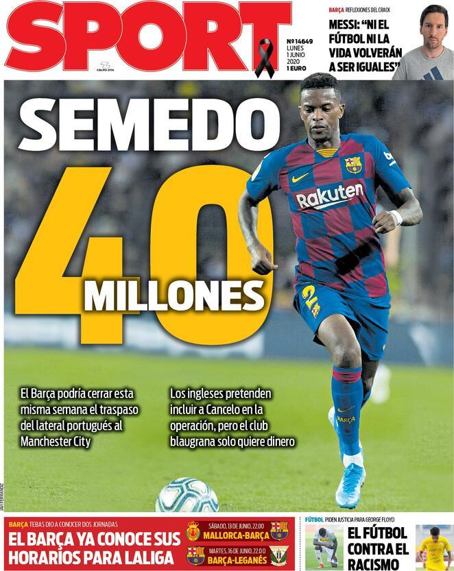 Front page of #Sport  2020-06-01   #edicola #primapagina #Real #Barca #Atletico #LaPortadapic.twitter.com/duQdvheBZN