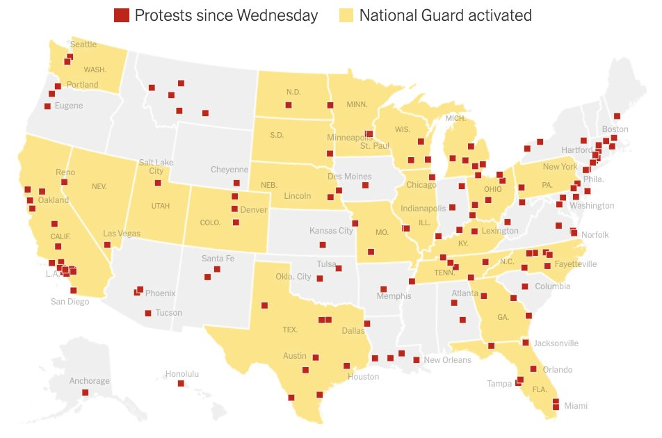 "The New York Times on Twitter: ""Protests have erupted in at least 140  cities across the United States over racism and police brutality. Some of  the demonstrations have turned violent, prompting the"