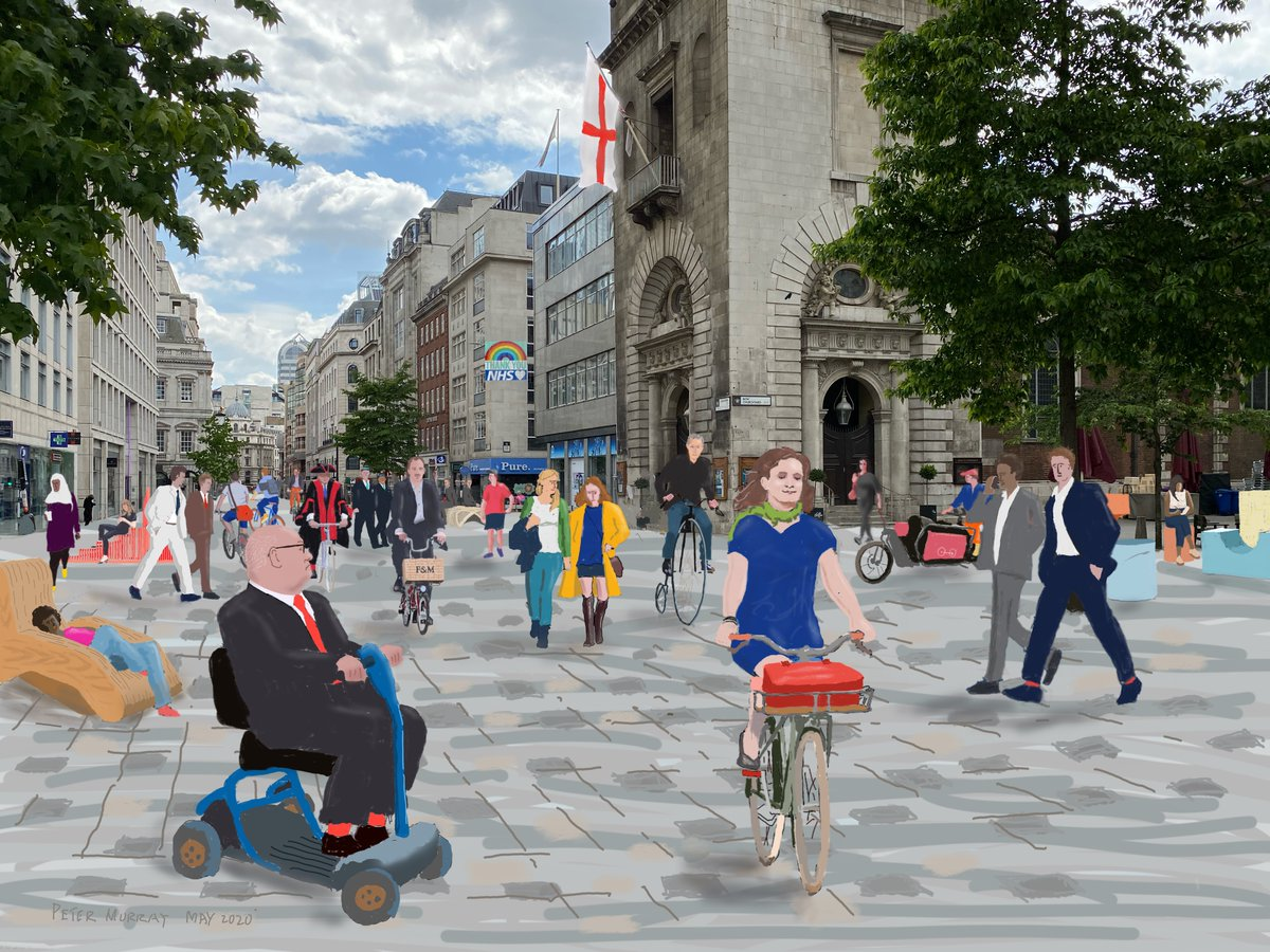 This is what Cheapside in the City of London could look like as a shared space for pedestrians, wheelchairs, penny farthings and cargo bikes @willnorman @W_Bradley @brucemcvean @alastairmmoss @carfreedayLDN #bankonsafety