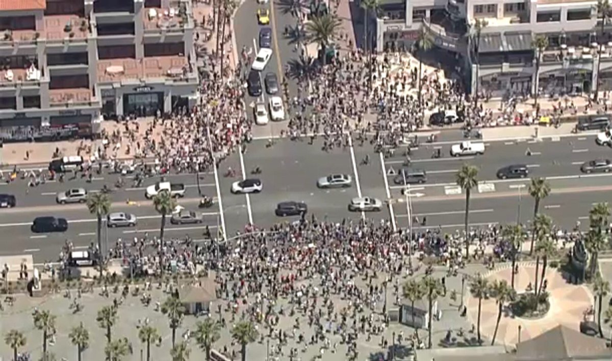 huntington beach two weeks ago protesting the beaches closing vs today at the black lives matter protest...