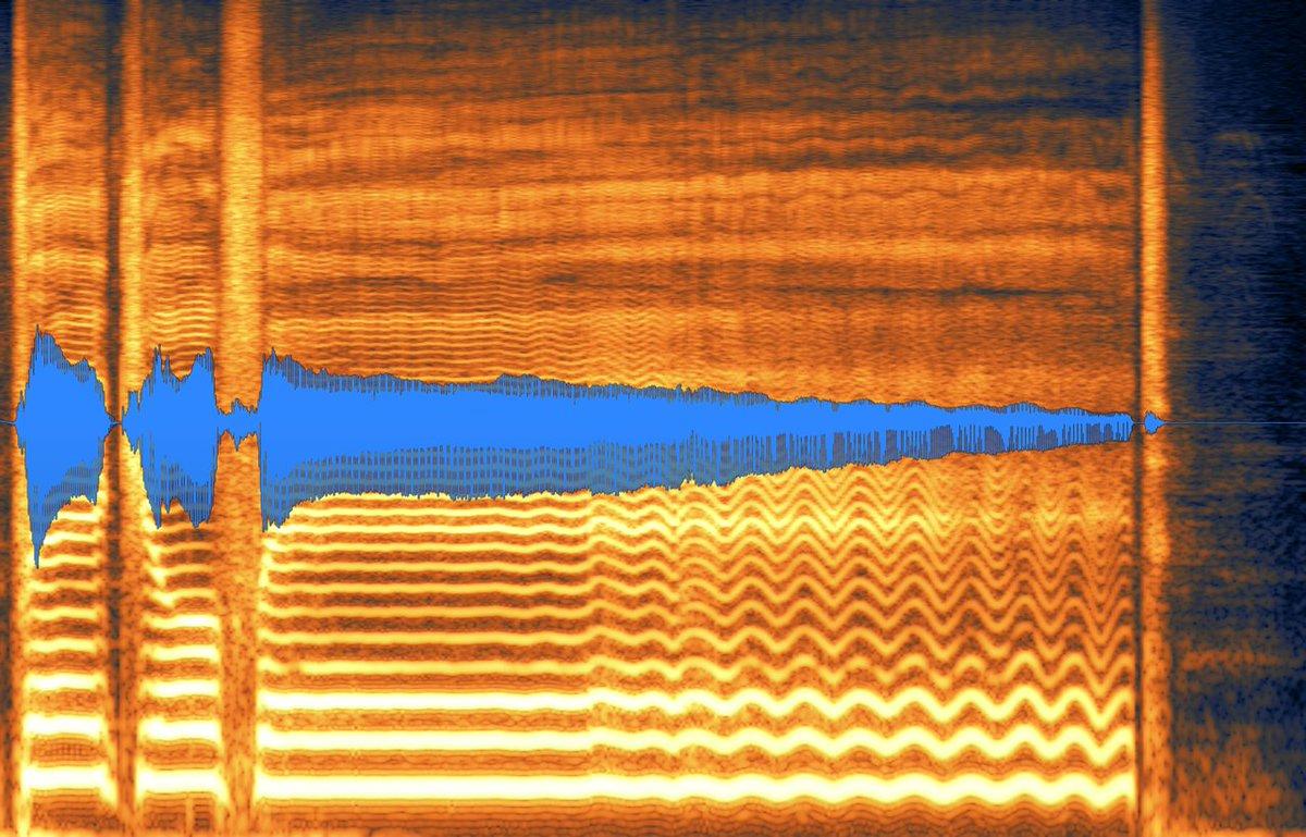 華Doll5巻「#For...」収録「I know,Who I am」画像は灯堂理人の歌声の波形の一部。オレンジ色の波は美しいビブラート。ここまで美しい波は結構珍しい。2小節のロングトーンが綺麗に波打っていて、まるで南国の織物のようです。この波形を見るだけでゾクゾクする。素晴らしい波、惚れ惚れする。#華Doll