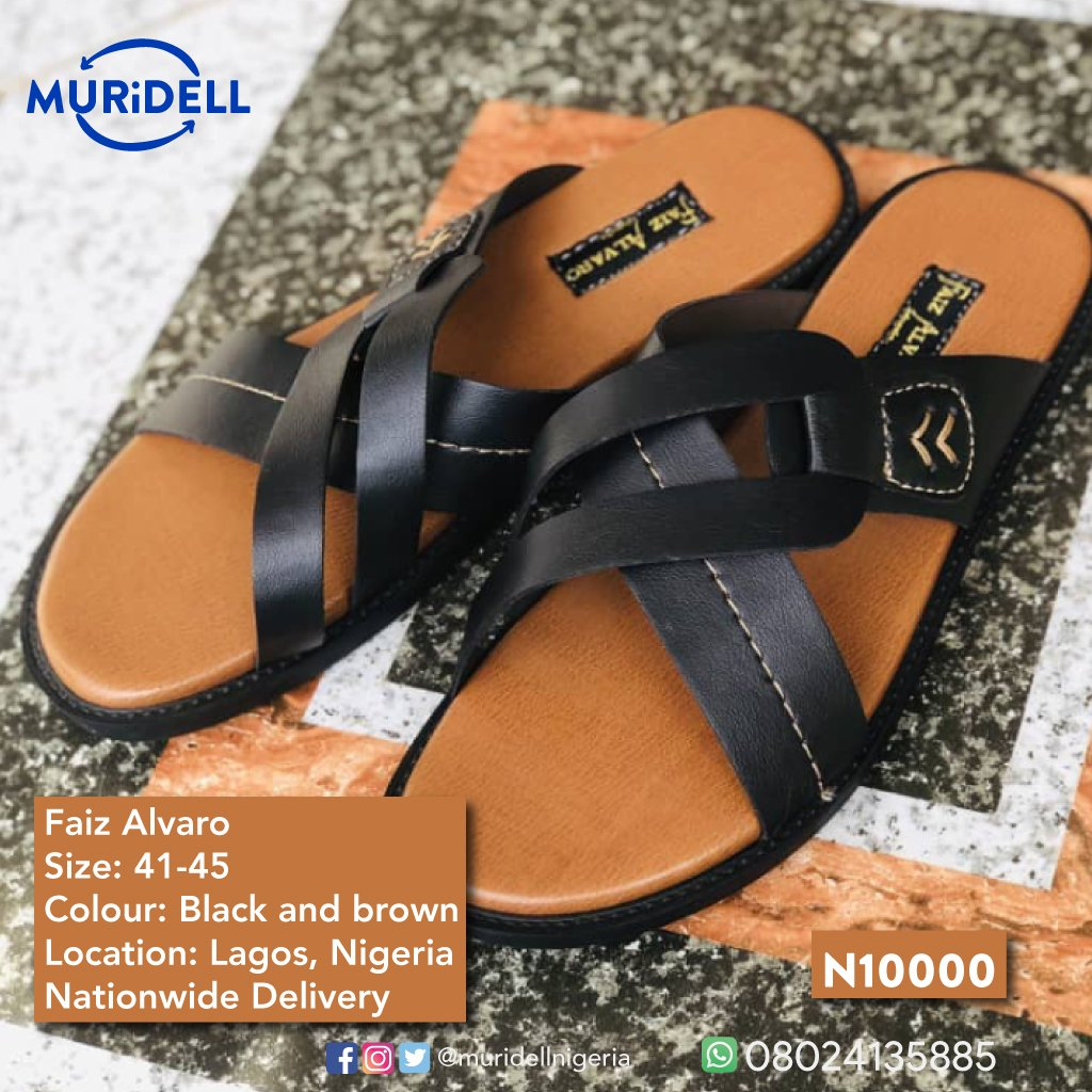Product: Palm Slippers Brand: Faiz Alvaro Sizes: 41 - 45 Colour: Black and light brown Amount: ₦10000 Location: Lagos, Nigeria (Nationwide Delivery)  #muridell #faizalvaro #quality  #palmslippers #footwear #casualoutfits #style #fashion #lagos #nigeria #sales #product #Growpic.twitter.com/bwUK6rCkuu