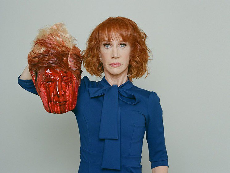 This was taken in 2017. @kathygriffin posing with Trumps head. Her way of demonstrating artistic protest against our good for nothing President. She got so much backlash for this. But I liked it in 2017 and I'll like and retweet in 2020.
