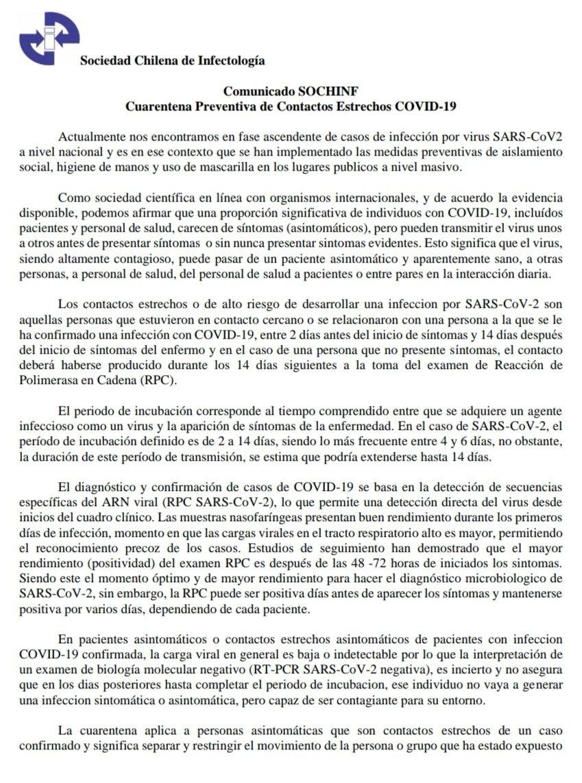 Declaración oficial de Sochinf sobre cuarentenas y aislamientos en caso de contacto estrecho con pacientes COVID-19 positivo https://t.co/2hpnoeBENT