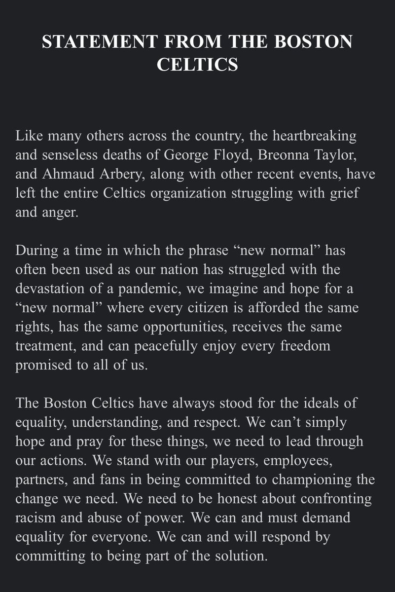 Statement from the Celtics:
