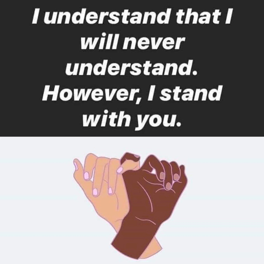 To the black community, I love you. I hear you. I respect you. I stand with you. Continue to spread the love in our fight for justice! All my love and support ❤️XoP