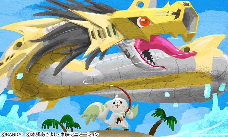 デジタルワールドにある島『ファイル島』にやって来たテリアモン助手。大物を求めて釣りにお出かけ でっかい魚影を見つけ慎重に待ち…そして釣れた❗️🎣 で~~~っかいメタルシードラモン!みてみてー!この大きさ!すごいでしょー👏👏👏#デジモン #digimon