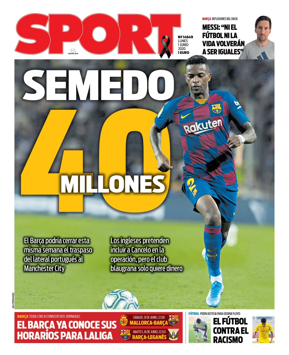 "『SPORT』 ""40M por Semedo"" 「セメドに40百万€」 #PortadaSport https://t.co/3qFv9l3Nvo"
