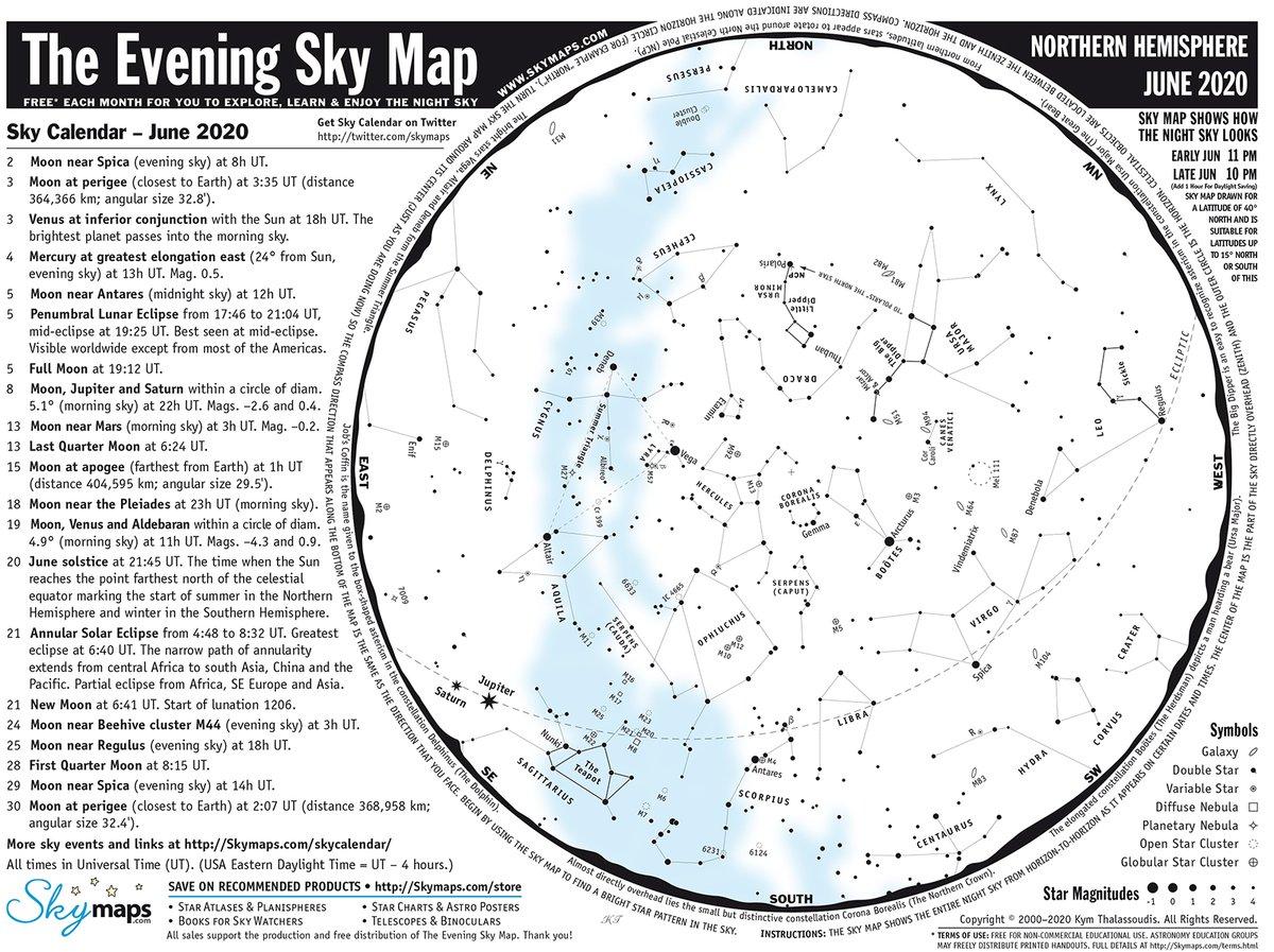 Ya puedes consultar en nuestra web el mapa estelar para el mes de #junio 2020 https://t.co/zrYxslv496 https://t.co/tOTnqAxspm