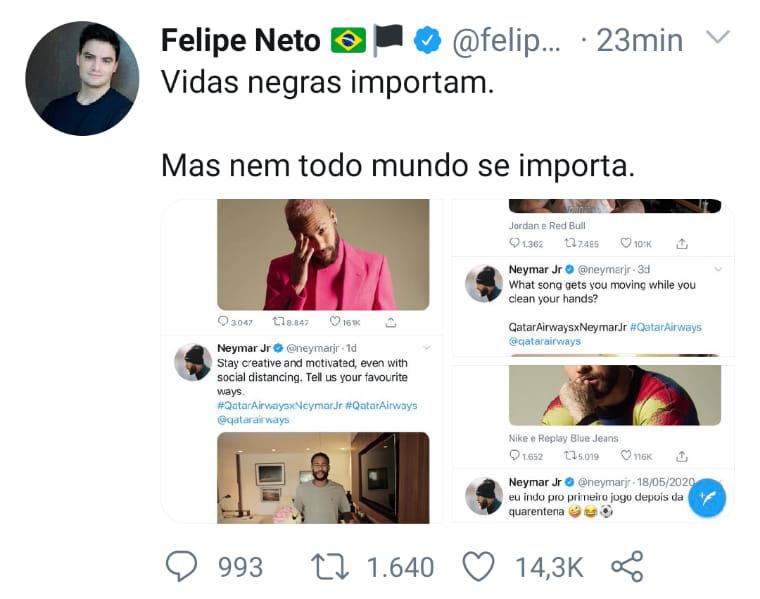"O Libertario's tweet - ""Sim, Felipe Neto é o ser mais desprezível ..."