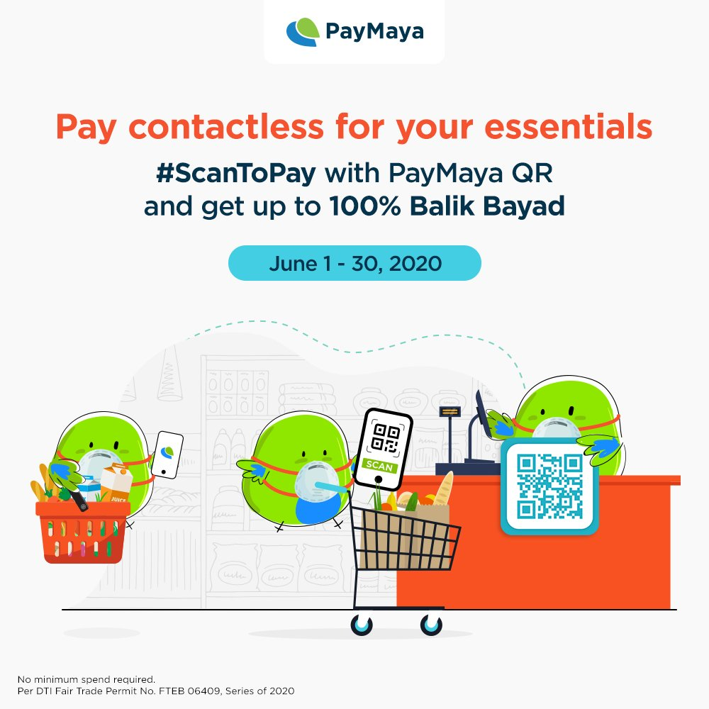 Pay contactless for food, groceries, medicine, and other essentials using PayMaya QR!   Keep your hands clean and enjoy 1%, 10%, or 100% Balik Bayad! Maximum reward of P500 per user. No minimum spend required.  Learn more at https://t.co/r0M8EsJ6wD https://t.co/lmIjJ5XGF1