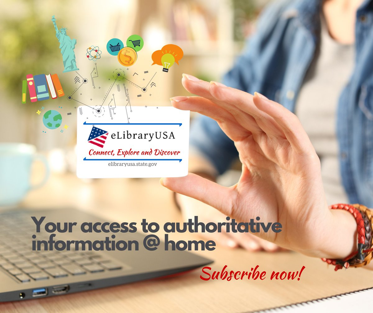 Get free access to eLibraryUSA, a digital collection of trusted information and resources from the United States, including newspapers, magazines, journals, books, dissertations, and award-winning films and videos! To subscribe, register here: https://bit.ly/eLibrarySubscribe ….pic.twitter.com/74rSwp1bzo