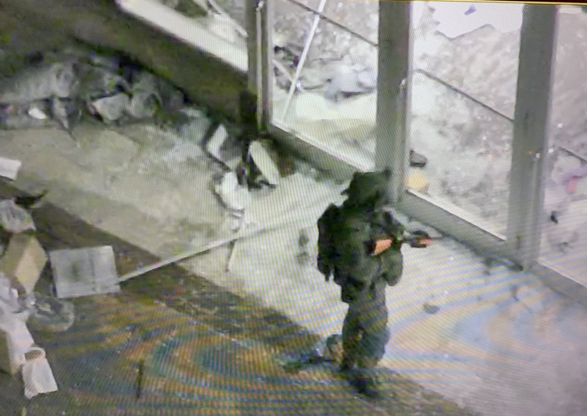 This is Boston June 1 2020 - National Guard positioned outside the Neiman Marcus at Copley Place - protecting the store and mall which has been ravaged by looters