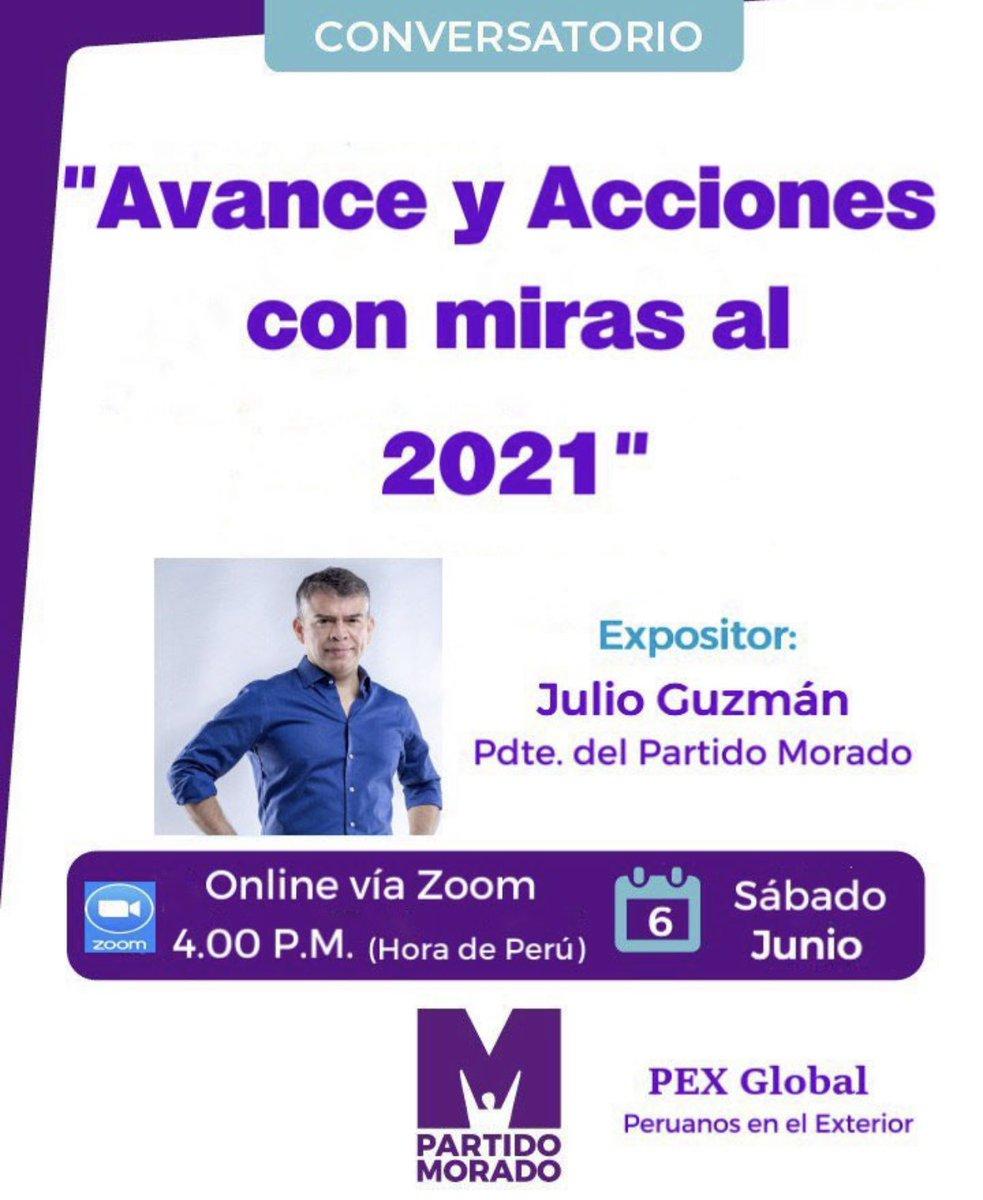 Muy pronto estaremos juntos! Conversatorio con los Peruanos en el Exterior y el Presidente del Partido Morado, Julio Guzmán. #PEX #PartidoMorado #ProyectosdeLey entre otros temas. pic.twitter.com/d7xBaSjMYf