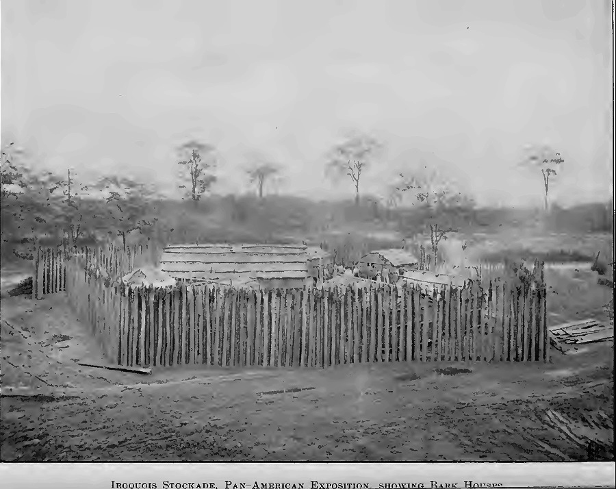 Reproduction Iroquois stockaded small village/farmstead with bark houses at the 1901 Pan-American Exposition in Buffalo, New York (Brush 1901:11). #culture pic.twitter.com/bqFH8PgTyd