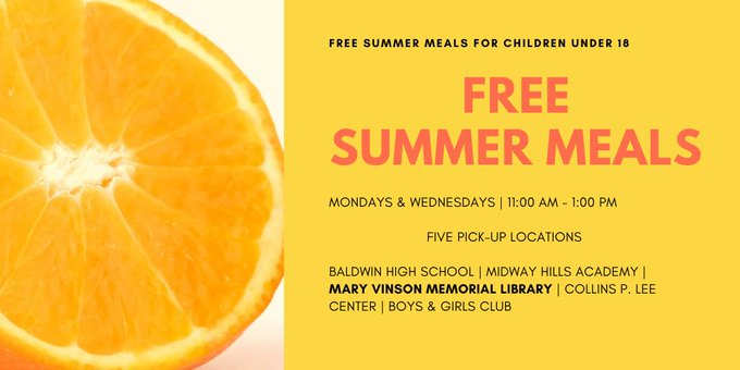 *FREE* Meals for Children 18 and Under, Monday & Wednesdays, 11:00 am to 1:00 pm Child must be present. No Library card required.