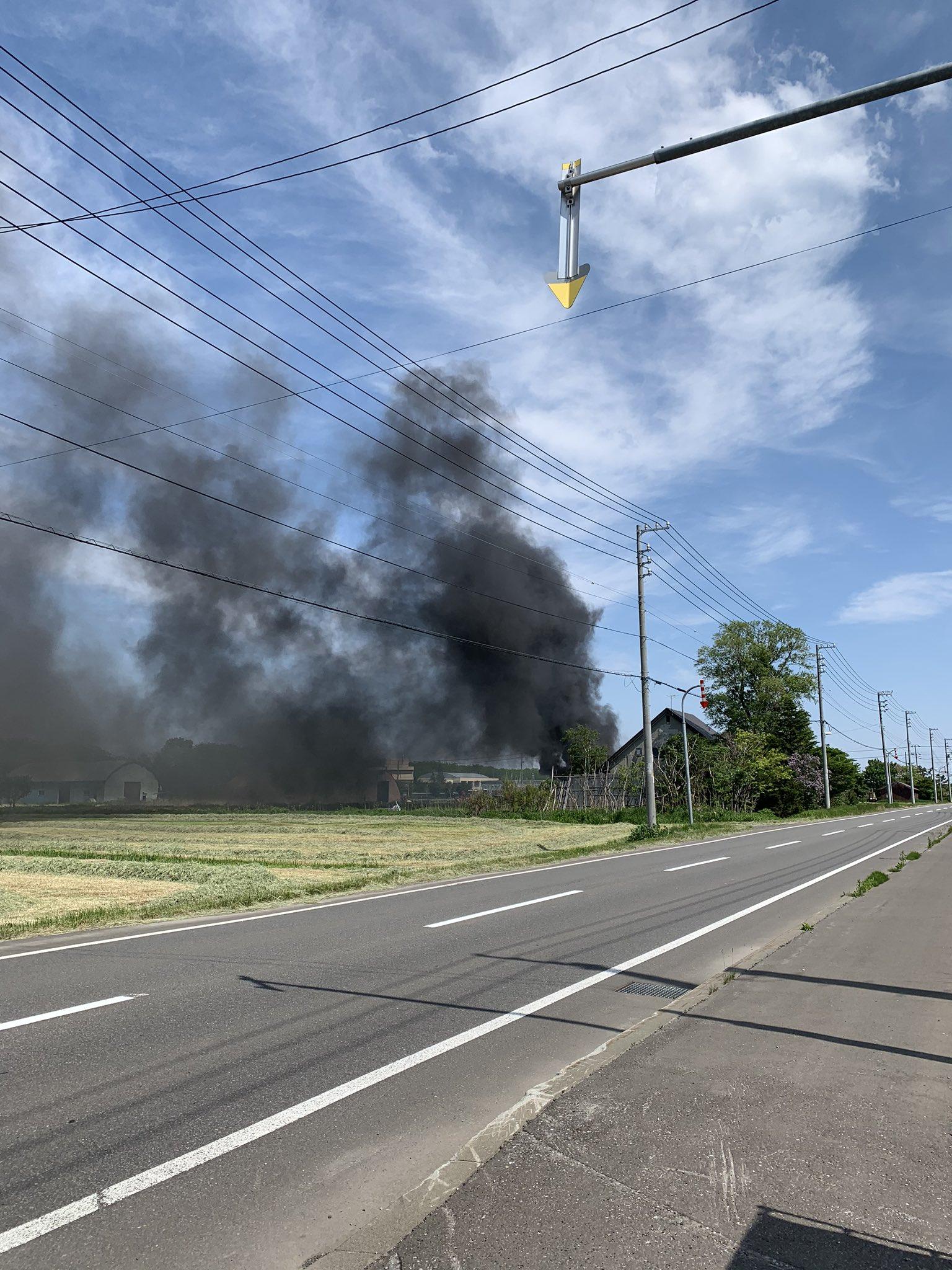 石狩市樽川で火事が起きてる現場の画像