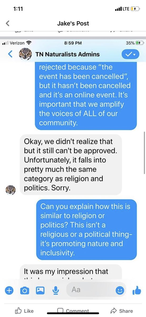 ATTN: if you need an example of what it looks like for Black ppl to be excluded from birding/outdoor exploration, here's 1. @zookeeperjake asked why his post about #BlackBirdersWeek was taken down from the Tennessee naturalist fb. This is why #BlackBirdersWeek is NECESSARY.