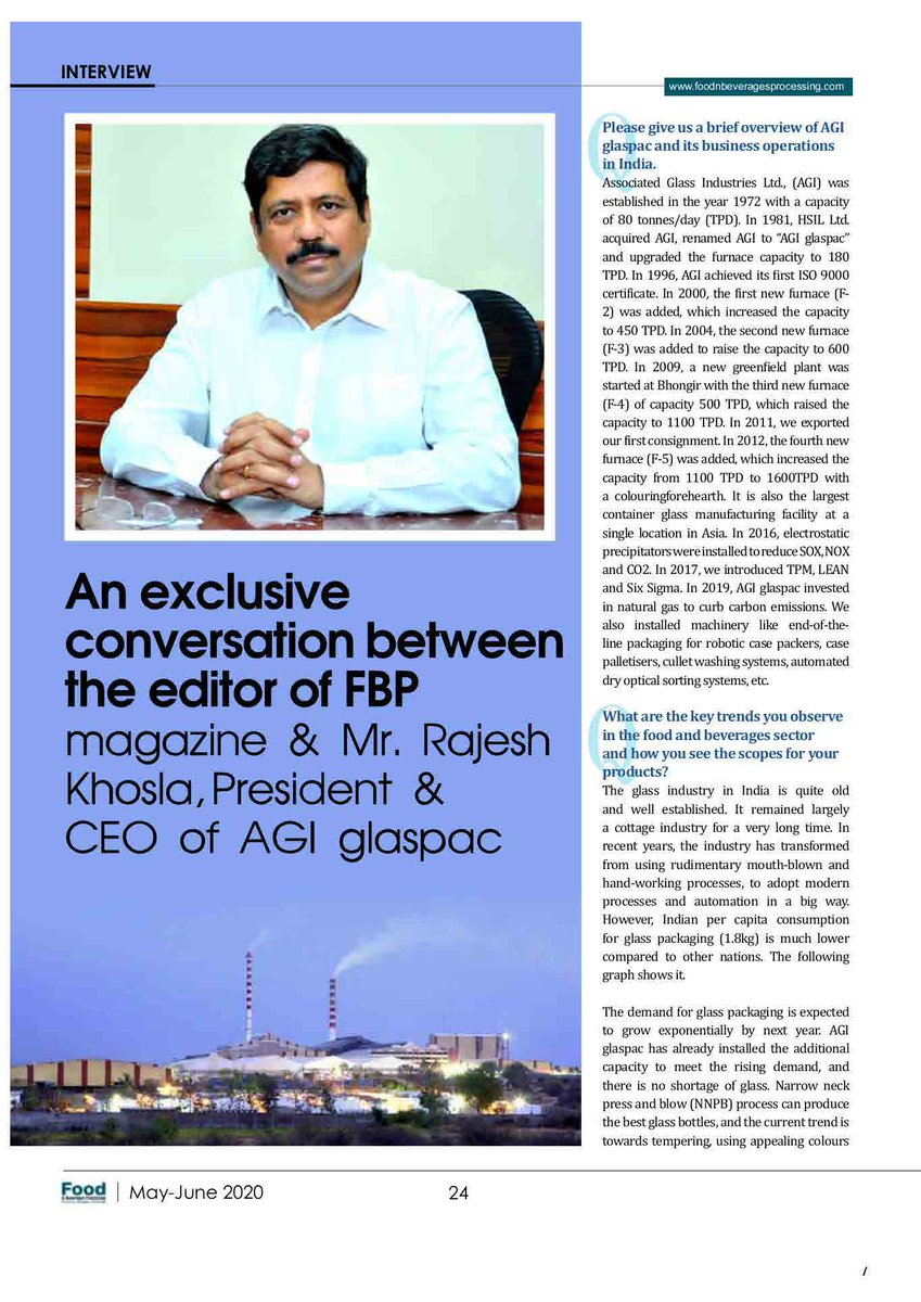 Mr. Rajesh Khosla, President & CEO, AGI glaspac had an exclusive interview with Food & Beverages Processing Team #agiglaspac #bottles #glass #containerglass #recycle #reusable #healthy #exports #domestic #beer #softdrinks #beverages #food #chemical #pharmapic.twitter.com/GxyUc0knNs