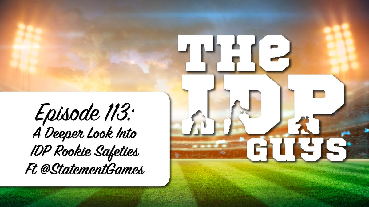 "🚨#113🚨 ""A Deeper Look Into IDP Rookie Safeties ft @StatementGames"" Win $500 by playing SGs NFL Season Long Contest (getting 10/10 picks correct) & interacting with this tweet (reply saying you are playing) Audio: idpguys.org/a-deeper-look-… YouTube: youtu.be/ikoQVA5_LmM"