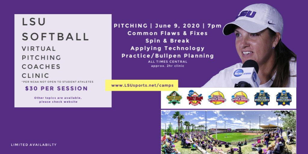 LAST DAY to register for the @LSUsoftball Virtual Coaches Pitching Clinic.  Expand your knowledge with @BethTorina Register here: https://t.co/z6eiqOLKIh https://t.co/DfpUcgckaa
