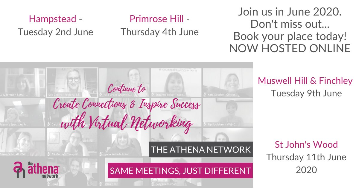 Check out our remaining meetings for June.  They are all hosted online and can be more flexible for you to join different groups!  Contact me on how to join   #BusinessNetworking #CreateConnections #InspireSuccess #TheAthenaNetwork #Athena #Success #Mindset #FemaleEntrepreneurs https://t.co/uXTJOel9Zb
