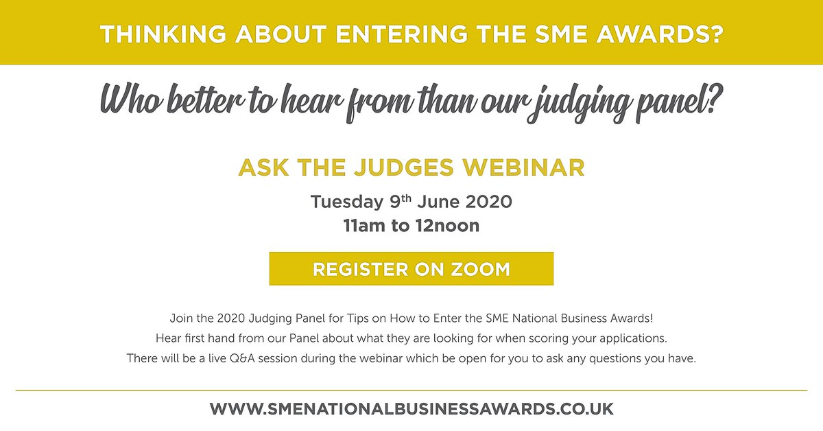 Just a quick reminder about our ASK THE JUDGES WEBINAR tomorrow at 11:00am. If you are thinking about entering the SME awards, who better to hear from than our Judging panel https://t.co/zSVAsBTY7s #SMENationals #Awards @JTewson @MyMustard @ashleycomms https://t.co/bddwL8SLVK