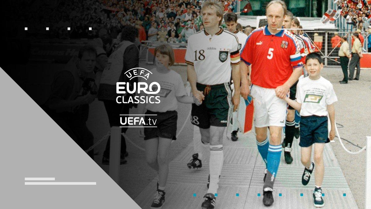 #EUROclassics Matchday! 🎉⚽🙌  🇨🇿 @ceskarepre_cz vs. @DFB_Team 🇩🇪 🔙 in #EURO1996 Finale. ✨ 😍 Re-LIVE 🔛 #UEFAtv 17h MEZ. ⏲ 📲 https://t.co/40VLp4fWGP. 📺  Alle Infos 👉 https://t.co/Zc0aPMAomT https://t.co/CpM3x0XSPY